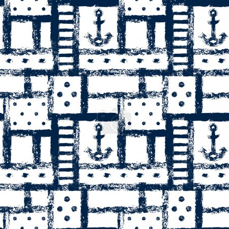Nautical grunge geometric lattice, stripes, anchors and dots seamless pattern, vector