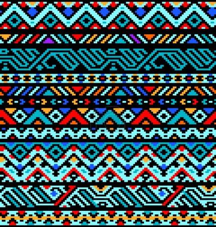 Illustration pour Ethnique géométrique aztèque transparente motif coloré, vecteur - image libre de droit