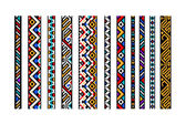 Colorful ethnic geometric aztec seamless borders set vector