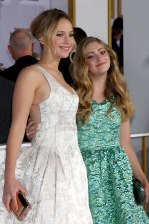 Photo for LOS ANGELES - NOV 17:  Jennifer Lawrence, Willow Shields at the The Hunger Games: Mockingjay Part 1 Premiere at the Nokia Theater on November 17, 2014 in Los Angeles, CA - Royalty Free Image