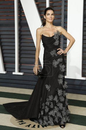 Foto de LOS ANGELES - FEB 22:  Angie Harmon at the Vanity Fair Oscar Party 2015 at the Wallis Annenberg Center for the Performing Arts on February 22, 2015 in Beverly Hills, CA - Imagen libre de derechos