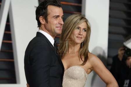 Photo for LOS ANGELES - FEB 22:  Justin Theroux, Jennifer Aniston at the Vanity Fair Oscar Party 2015 at the Wallis Annenberg Center for the Performing Arts on February 22, 2015 in Beverly Hills, CA - Royalty Free Image