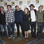 Постер, плакат: Michael Madsen and Kurt Russell Quentin Tarantino and actors Demian Bichir Jennifer Jason Leigh Walton Goggins Tim Roth Bruce Dern