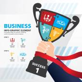 Info graphic Template with Businessman holding a champion trophy banner