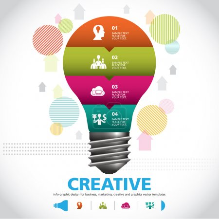 BULB ICON WITH IDEA CONCEPT. INFO GRAPHIC for business