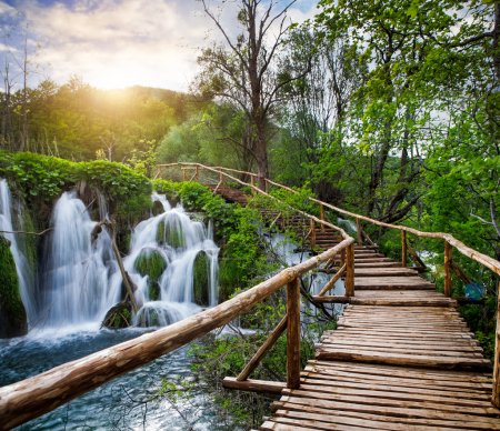 Photo for Beautiful view of waterfalls and pathway in Plitvice Lakes National Park. - Royalty Free Image
