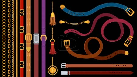 Illustration for Chain belts. Brushes golden chains and leather belt with metal buckle. Jewelry pendant, fringe, strap and braids. Fashion element vector set. Material of accessory stripe belt with buckle illustration - Royalty Free Image