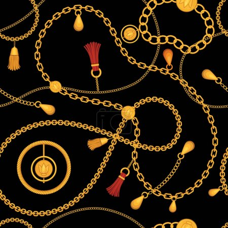 Illustration for Golden chains seamless pattern. Print with chain belt, gold necklace, jewel bracelet with pendant and tassel. Luxury fashion vector. Seamless golden chain pattern, elegance tassel illustration - Royalty Free Image
