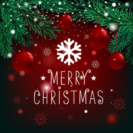 Photo for Merry Christmas lettering on background with fir branches and balls - Royalty Free Image