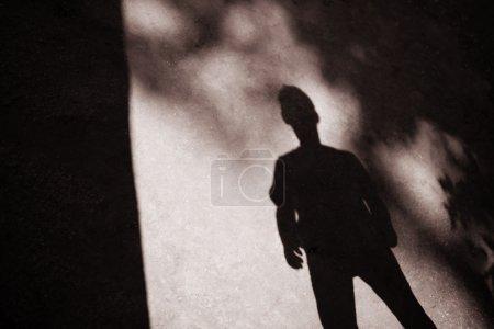 Photo pour Ombres de branches d'arbres et d'un homme - image libre de droit