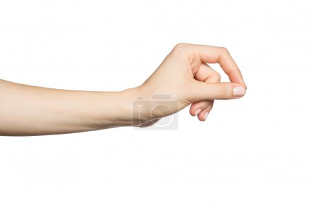 Woman's hand holding something, isolated on white