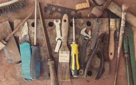 Dirty set of hand tools