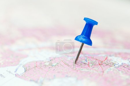 Photo for Travel destination, blue  pin on the map - Royalty Free Image