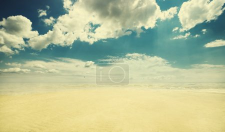 Empty beach, vintage look
