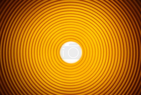Striped tunnel pipe in orange yellow, abstract background
