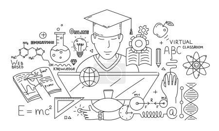 Photo pour Concept de conception de style de ligne de e-learning et d'éducation en ligne - image libre de droit