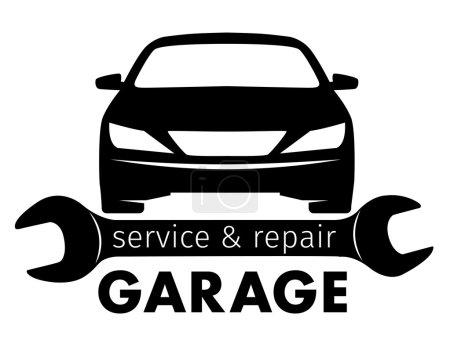 Illustration pour Centre automatique, service de garage et logo de réparation, modèle vectoriel - image libre de droit