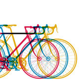 Abstract background 3 bikes in different colors on white vector illustration for your design