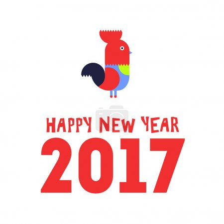 Happy New Year of the red Rooster, greeting card. Vector illustration.