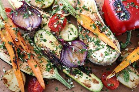 Halved grilled vegetables