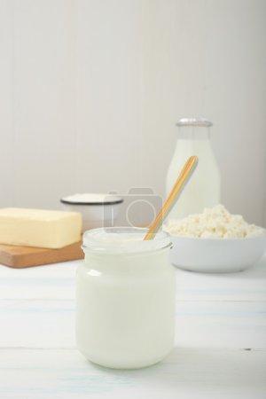 Dairy product yogurt white background