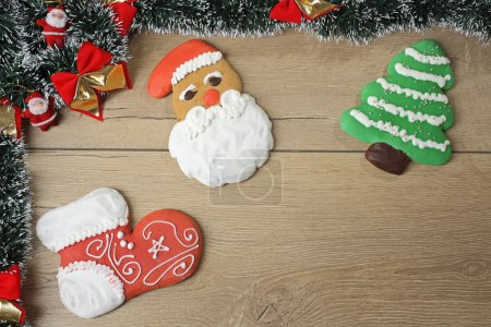 Colorful christmas gingerbread cookies