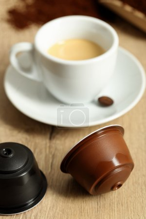 Espresso cup on wooden table