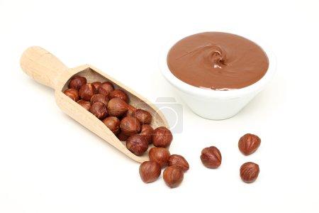 Hazelnuts in wooden spoon and hazelnut butter