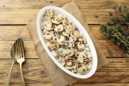 top view rice with mushrooms