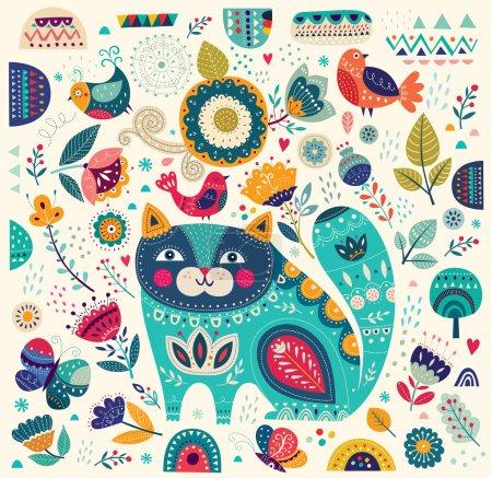 Illustration pour Illustration vectorielle d'art colorée avec beau chat, papillons, oiseaux et fleurs. Affiche d'art pour la décoration de votre intérieur et pour une utilisation dans votre design unique - image libre de droit