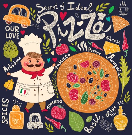 Illustration pour Menu design pizza avec chef, illustration vectorielle - image libre de droit