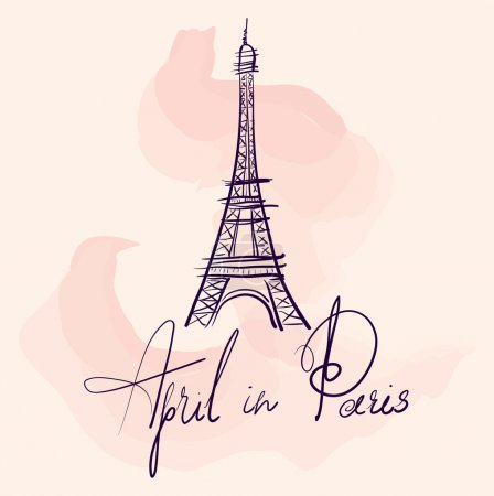 Illustration for Vector hand drawn illustration with Eiffel tower. April in Paris. - Royalty Free Image
