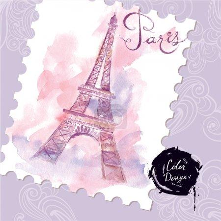 watercolor Eiffel Tower