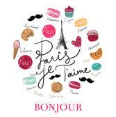 Handgezeichnete Symbole für Paris