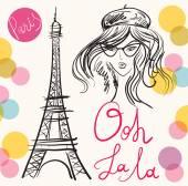 Eiffelturm und Frau