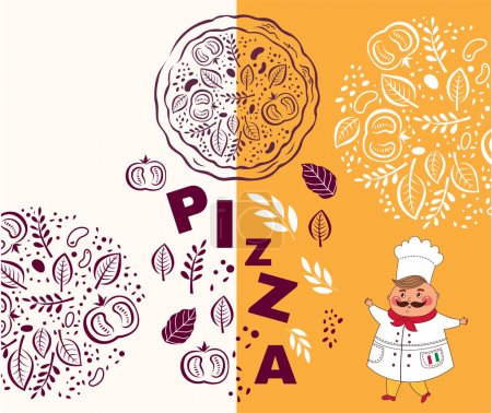 Illustration for The cook and ingredients for pizza on white and orange background illustration - Royalty Free Image