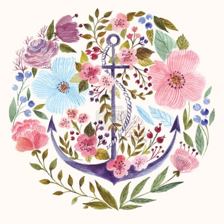 Illustration for Hand drawn adorable anchor with flowers in watercolor technique. - Royalty Free Image