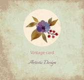 Vintage Card with Hand Drawn flower
