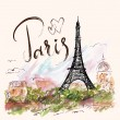 Vector hand drawn illustration with Eiffel tower, ...