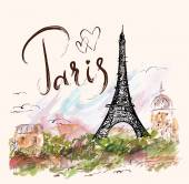 Vector hand drawn illustration with Eiffel tower Paris