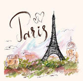 illustration with Eiffel tower Paris