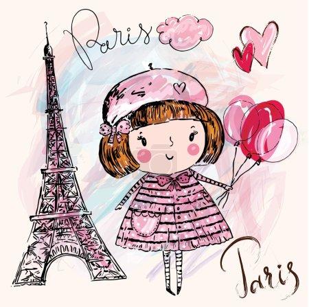 Illustration pour Illustration vectorielle dessinée à la main avec tour Eiffel et petite fille tenant des ballons à Paris - image libre de droit
