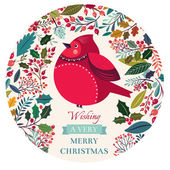 Vector hand drawn floral pattern with bullfinch