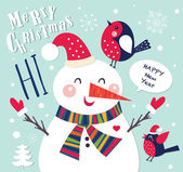 Vector New Year greeting card with snowman and bird on green background