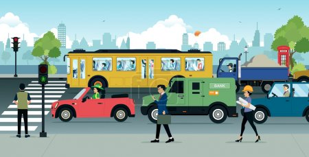 Illustration for Cars on the road there are traffic jams in the city. - Royalty Free Image