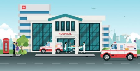 Illustration for Ambulances took the injured to the hospital. - Royalty Free Image