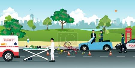 Woman cyclist hit by a car