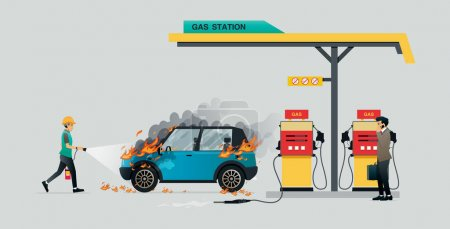 Illustration pour Un employé éteint un incendie qui brûle une voiture pendant le ravitaillement. - image libre de droit