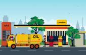 The gas station that employs refueling and trucks