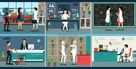 Illustration for Scientists conducted experiments in the science lab. - Royalty Free Image